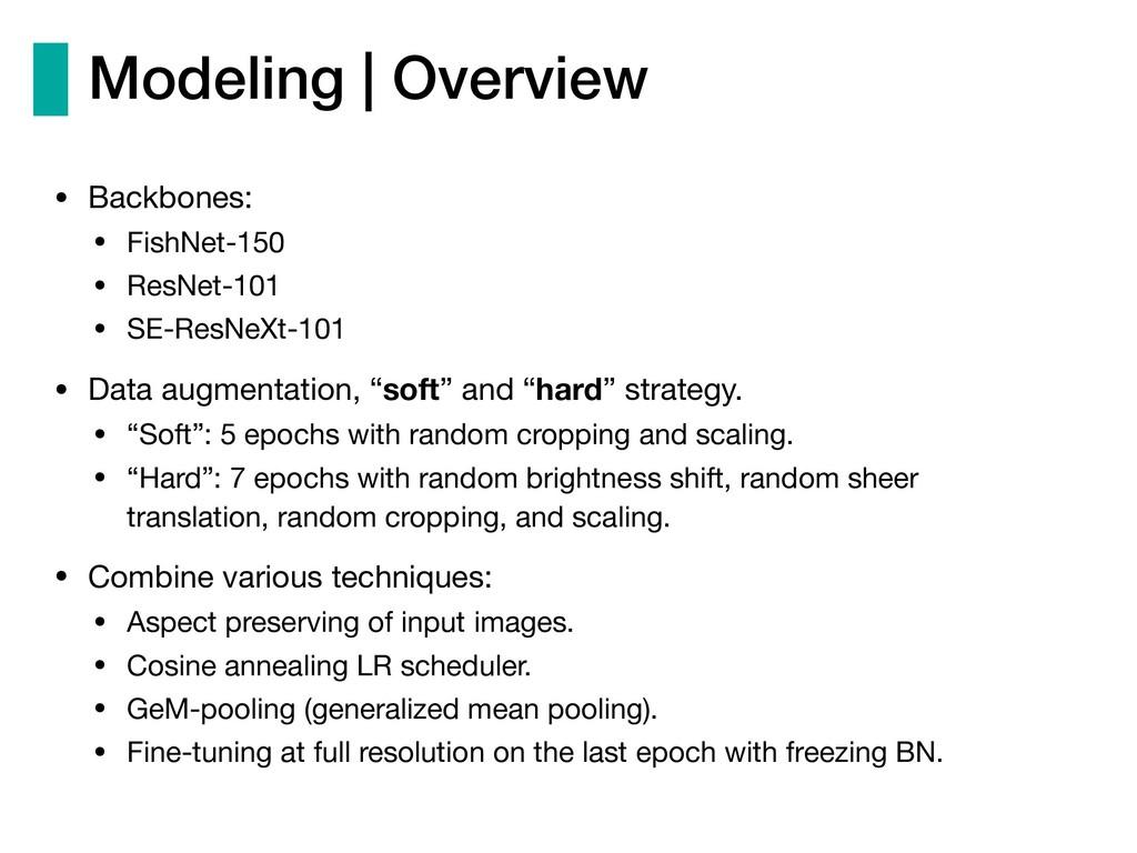 Modeling | Overview • Backbones:  • FishNet-150...