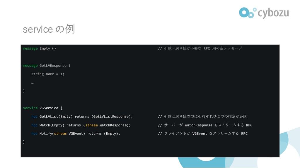 service の例 message Empty {} // 引数・戻り値が不要な RPC 用...