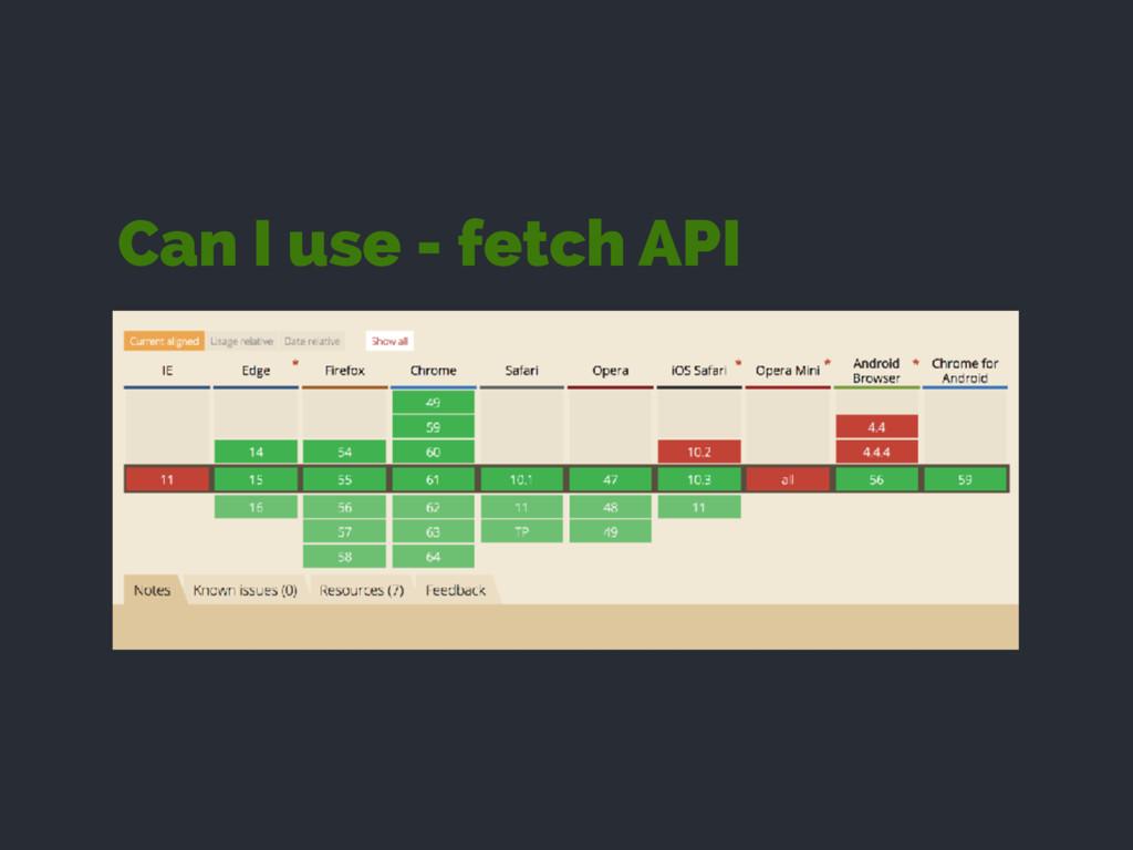 Can I use - fetch API