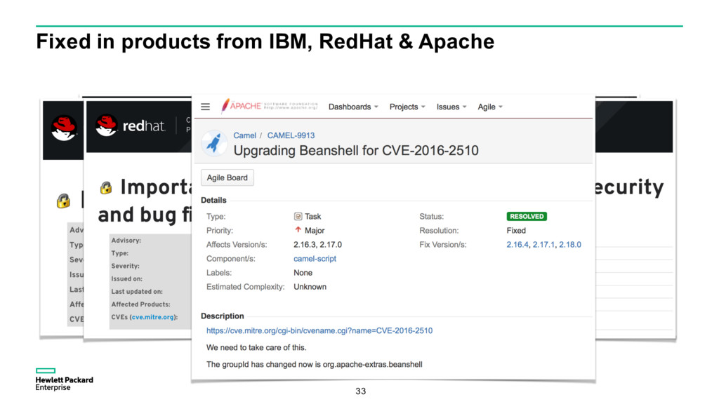 Fixed in products from IBM, RedHat & Apache 33
