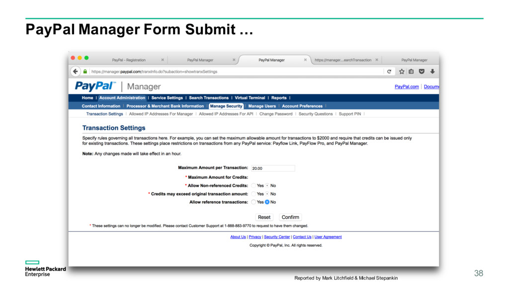 PayPal Manager Form Submit … 38 Reported by Mar...