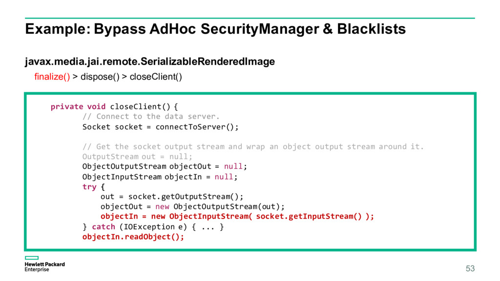 Example: Bypass AdHoc SecurityManager & Blackli...