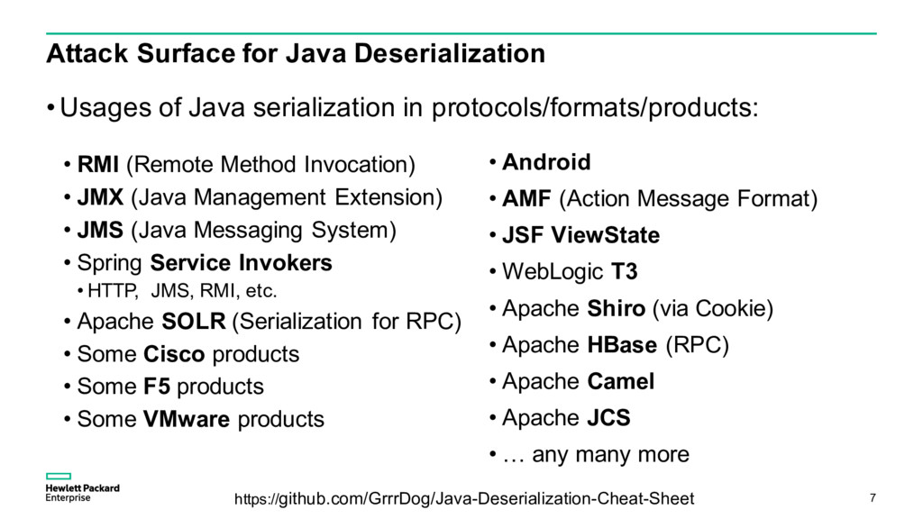 Attack Surface for Java Deserialization • Usage...