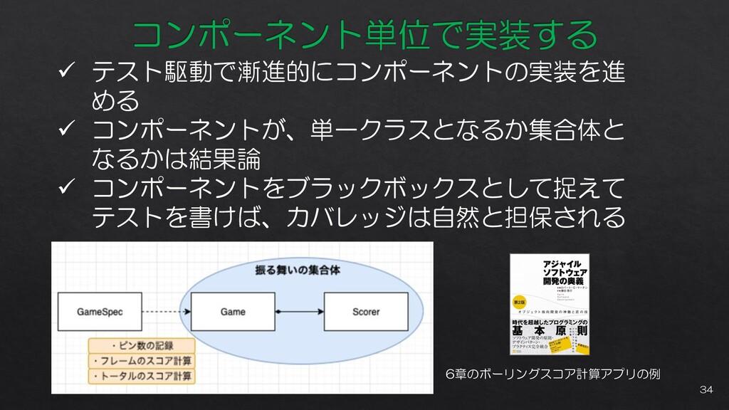 ✓ テスト駆動で漸進的にコンポーネントの実装を進 める ✓ コンポーネントが、単一クラスとなる...