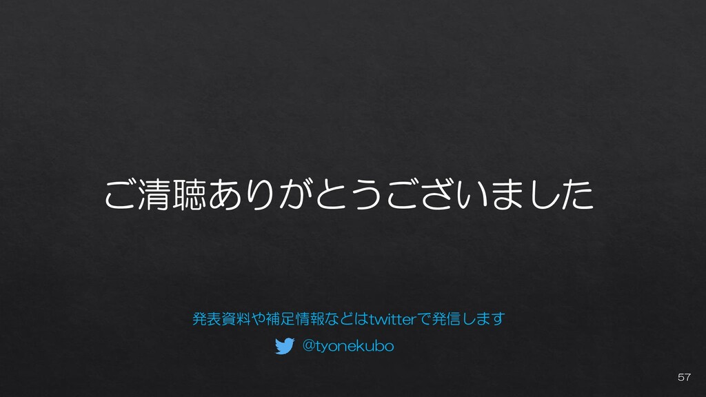 ご清聴ありがとうございました 発表資料や補足情報などはtwitterで発信します @tyone...