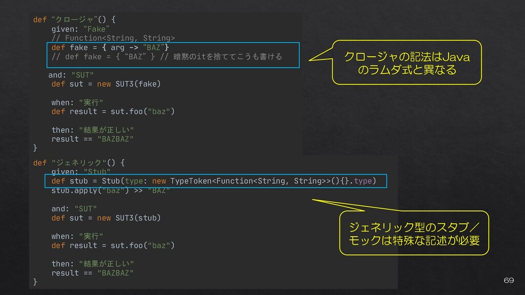 """def """"クロージャ""""() { given: """"Fake"""" // Function<Strin..."""