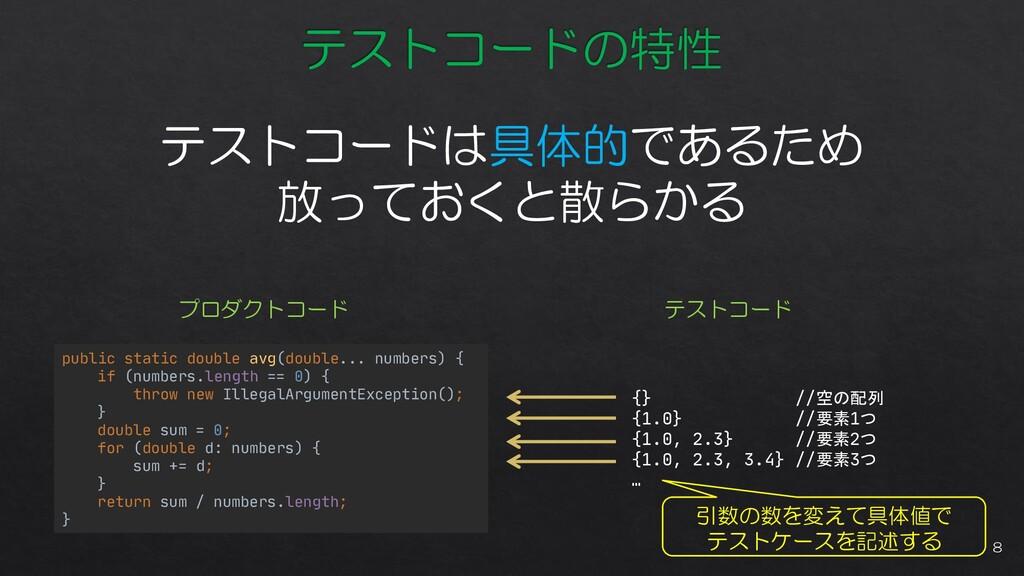 テストコードは具体的であるため 放っておくと散らかる public static double...