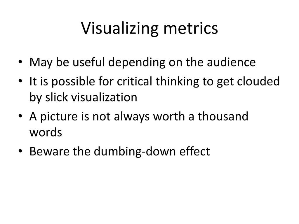 Visualizing metrics • May be useful depending o...