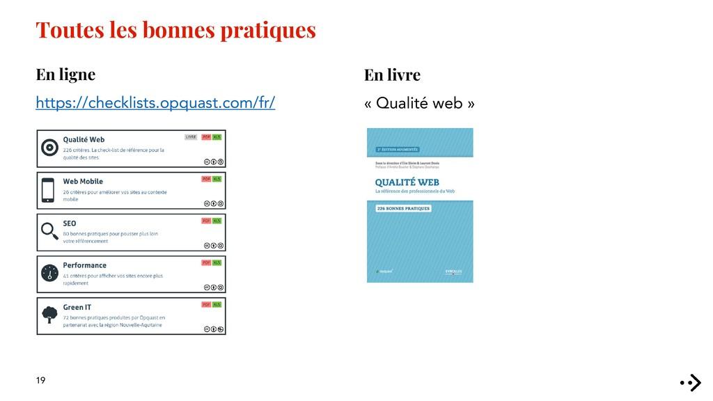 19 En livre « Qualité web » Toutes les bonnes p...
