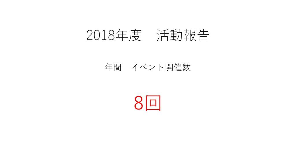 2018年度 活動報告 年間 イベント開催数 8回