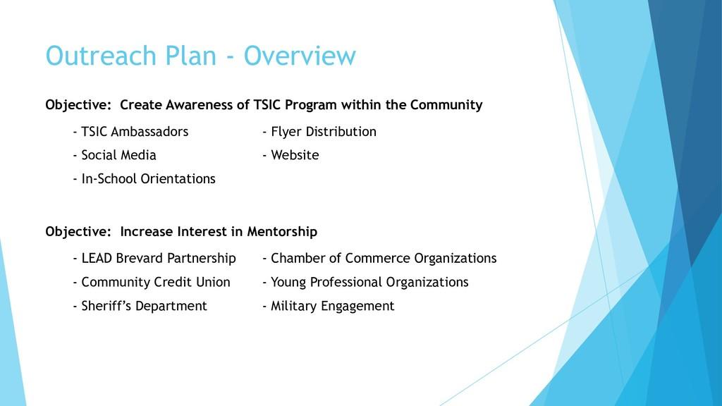 Outreach Plan - Overview Objective: Create Awar...