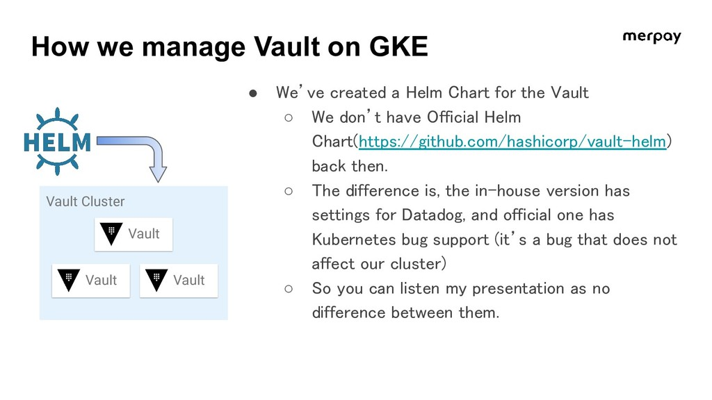 ● We've created a Helm Chart for the Vault ○ W...