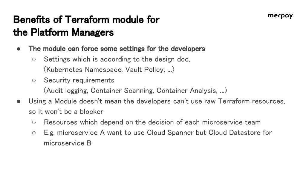Benefits of Terraform module for the Platform ...