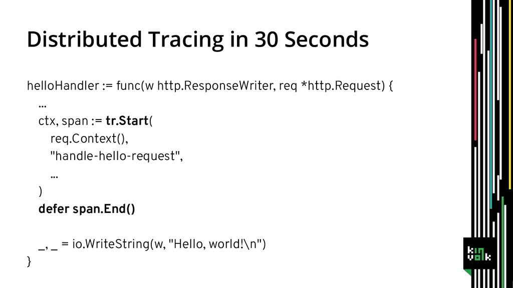 Distributed Tracing in 30 Seconds helloHandler ...
