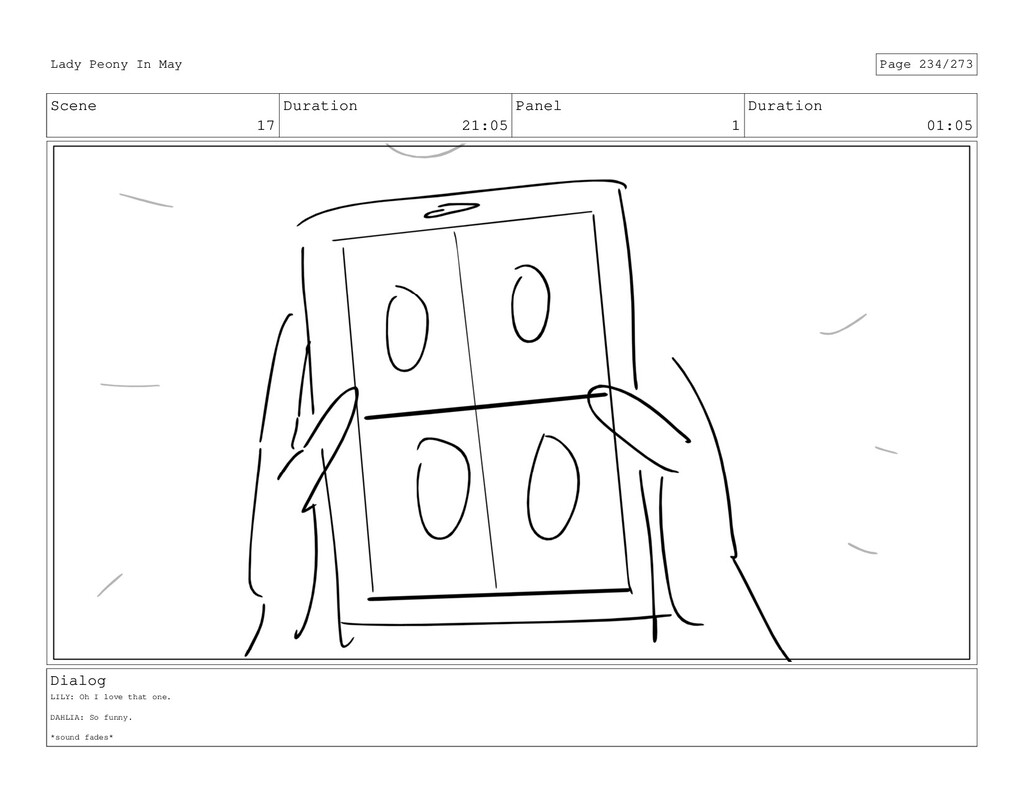 Scene 17 Duration 21:05 Panel 1 Duration 01:05 ...
