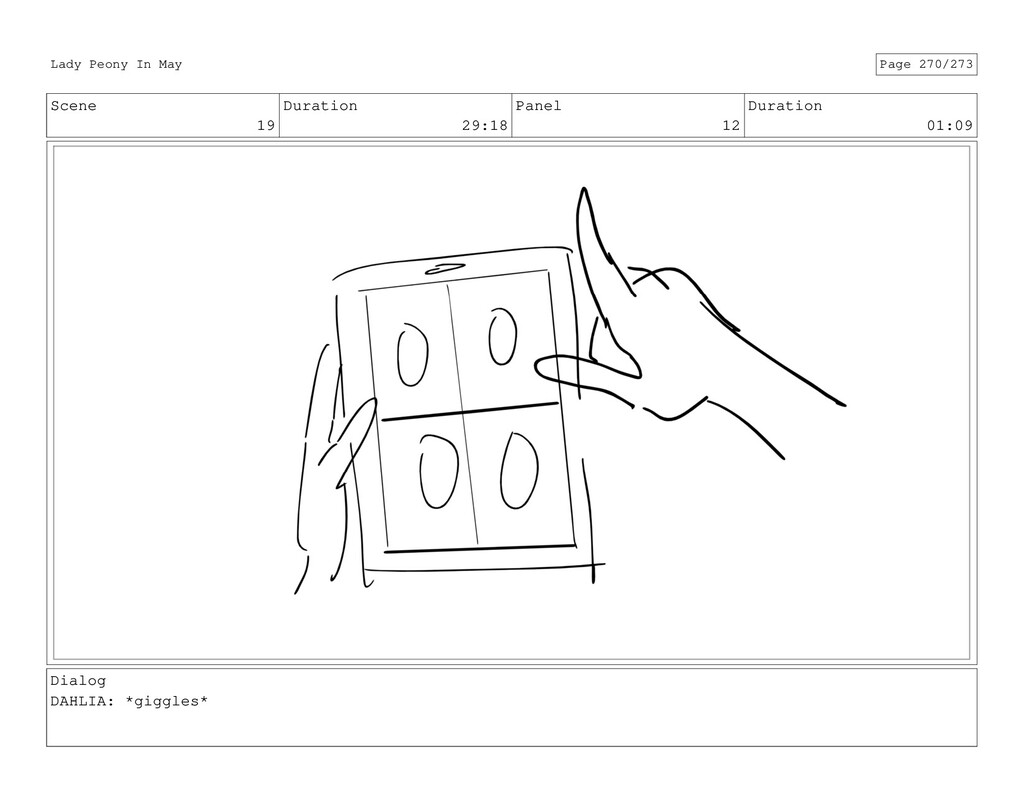 Scene 19 Duration 29:18 Panel 12 Duration 01:09...