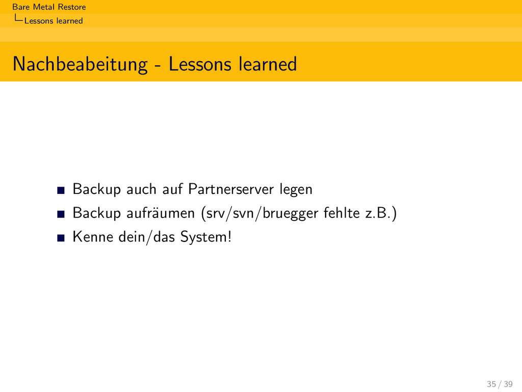 Bare Metal Restore Lessons learned Nachbeabeitu...