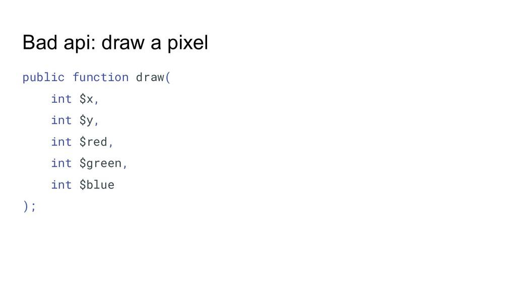 Bad api: draw a pixel public function draw( int...