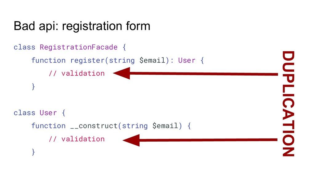 Bad api: registration form class RegistrationFa...