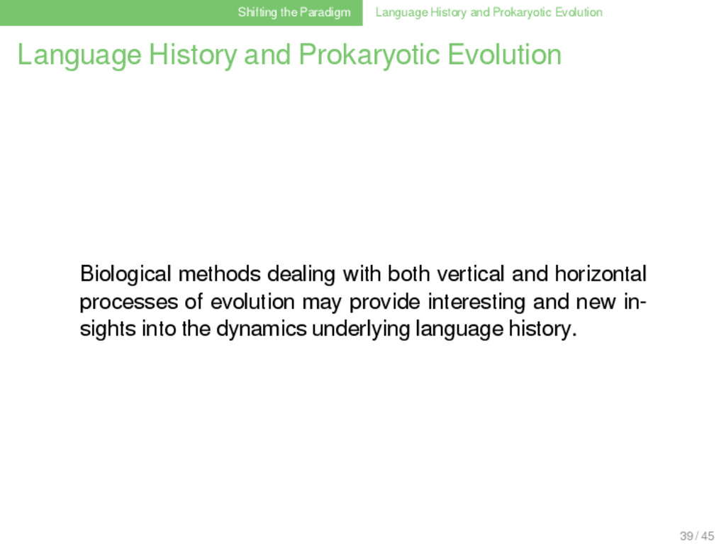 Shifting the Paradigm Language History and Prok...