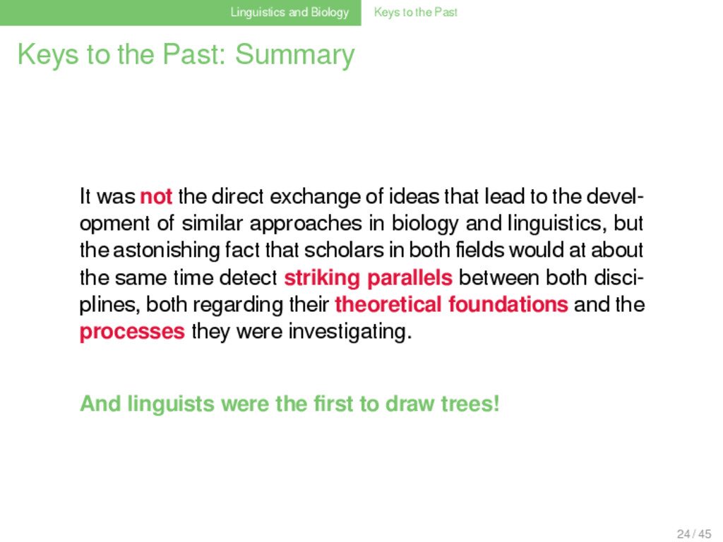 Linguistics and Biology Keys to the Past Keys t...
