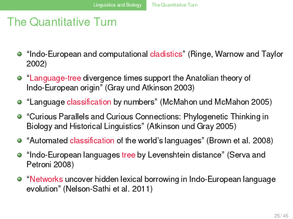 Linguistics and Biology The Quantitative Turn T...