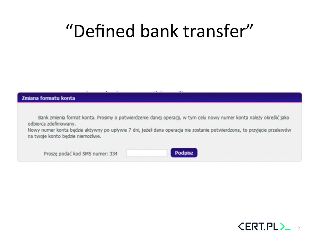 """Defined bank transfer""  12"