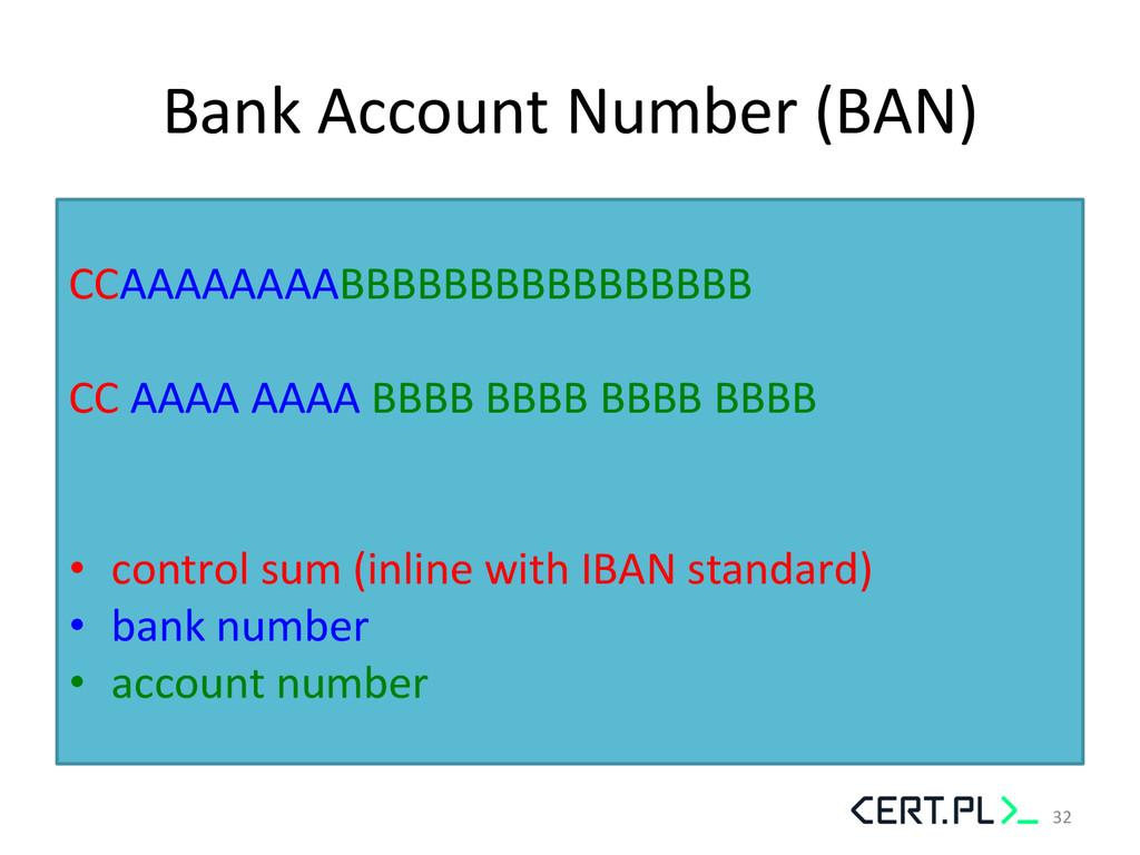 Bank Account Number (BAN)    CCA...
