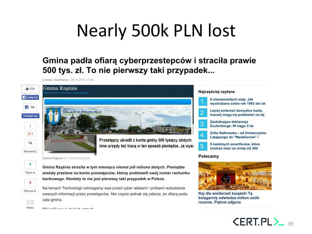 Nearly 500k PLN lost  35