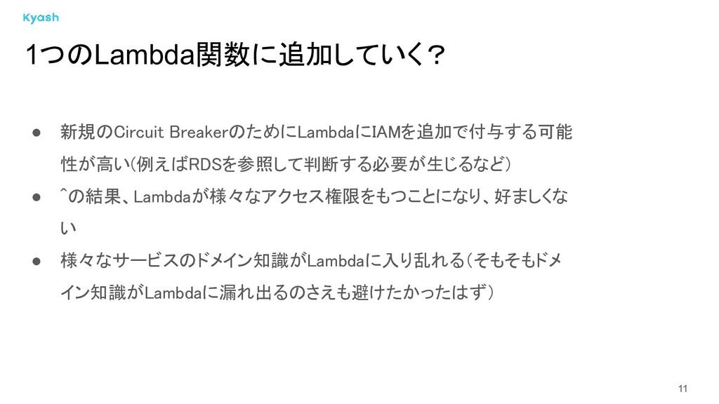 11 ● 新規のCircuit BreakerのためにLambdaにIAMを追加で付与する可能...