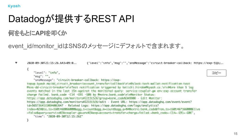 15 何をもとにAPIを叩くか event_id/monitor_idはSNSのメッセージにデ...