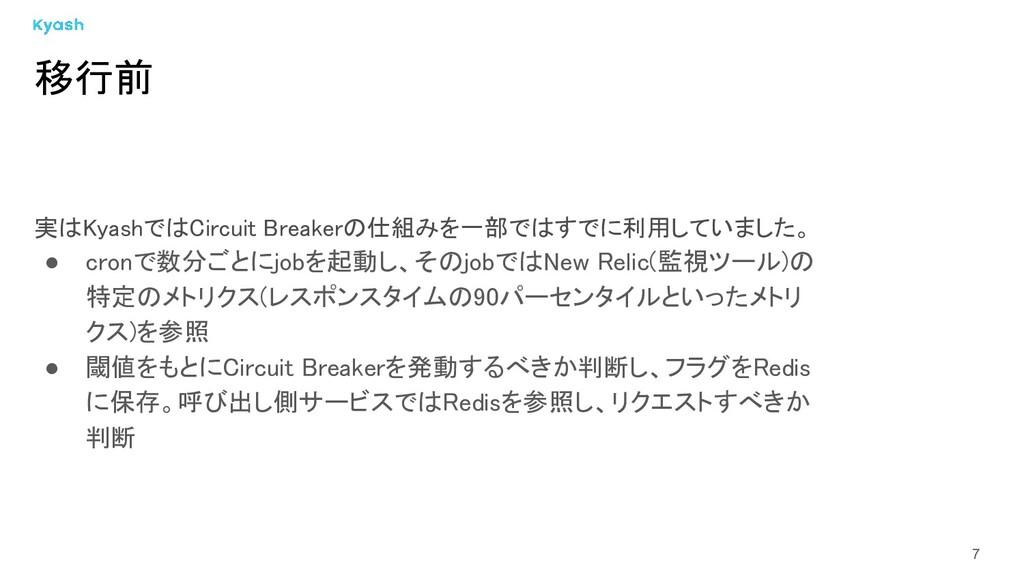 7 実はKyashではCircuit Breakerの仕組みを一部ではすでに利用していました。...