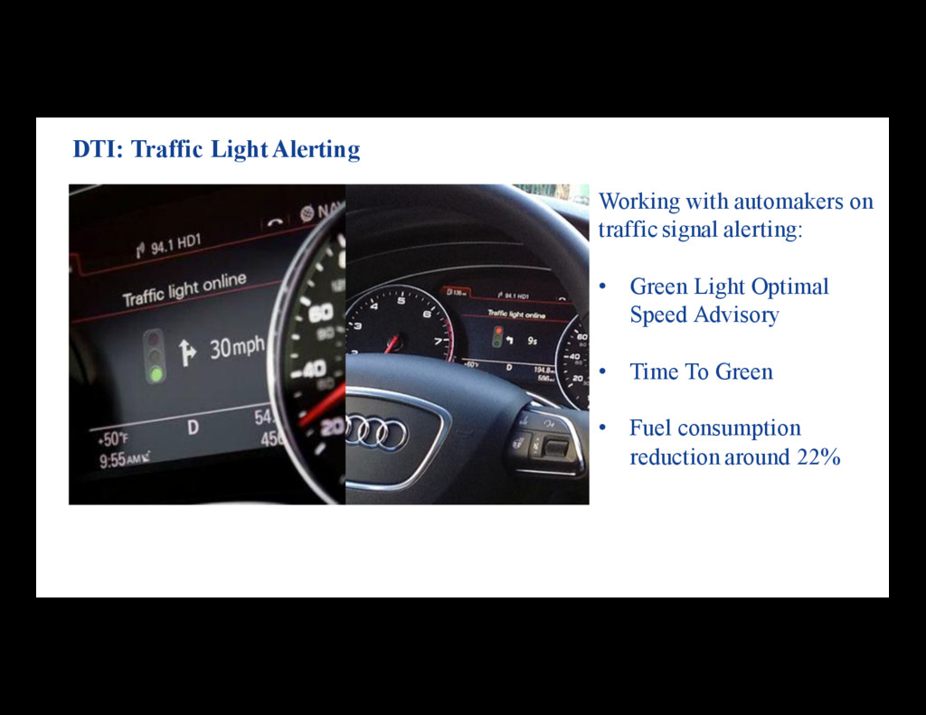 Working with automakers on traffic signal alert...
