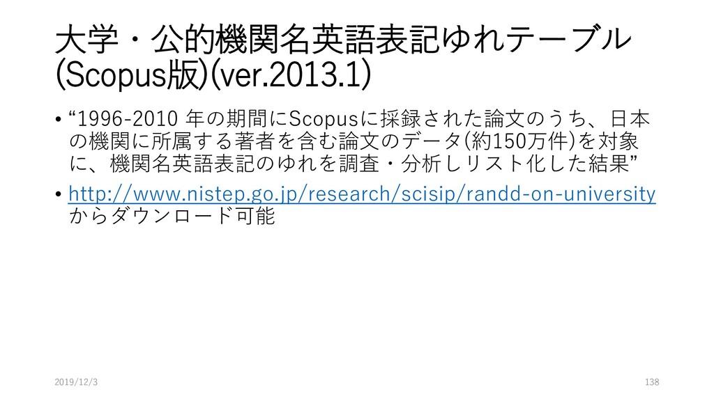 """大学・公的機関名英語表記ゆれテーブル (Scopus版)(ver.2013.1) • """"199..."""