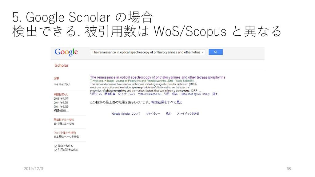 5. Google Scholar の場合 検出できる. 被引用数は WoS/Scopus と...