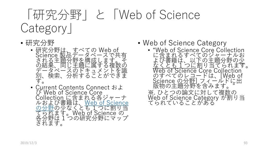 「研究分野」と「Web of Science Category」 • 研究分野 • 研究分野は...