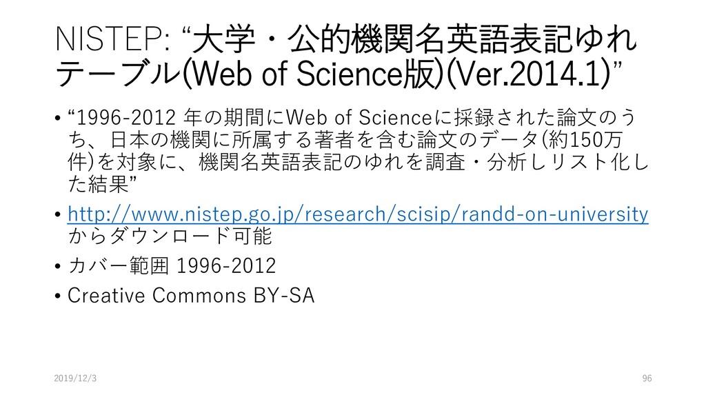 "NISTEP: ""大学・公的機関名英語表記ゆれ テーブル(Web of Science版)(V..."