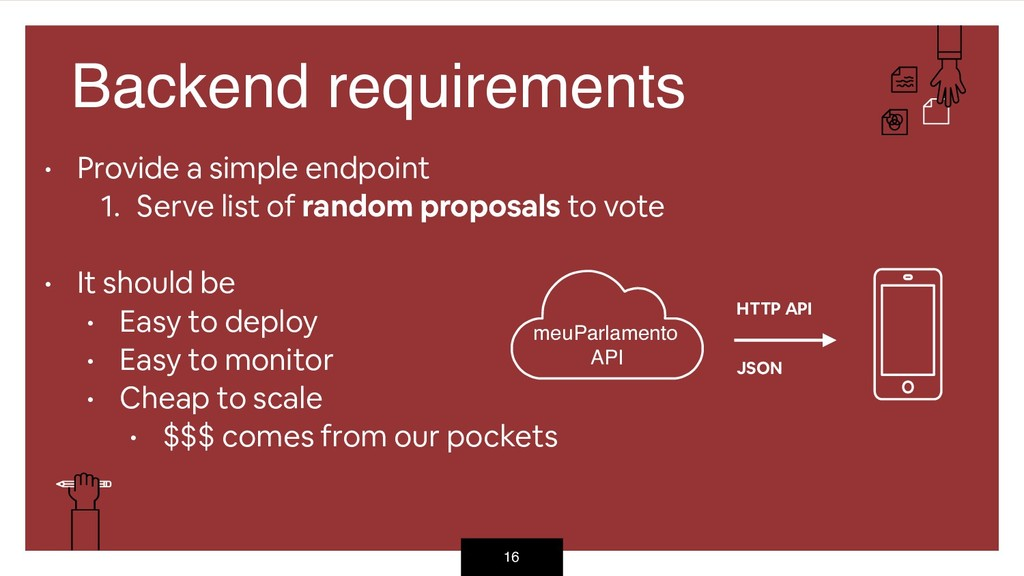 16 Backend requirements • Provide a simple endp...