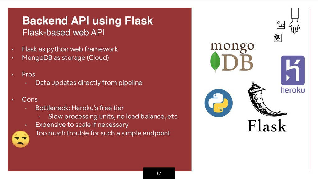 • Flask as python web framework • MongoDB as st...