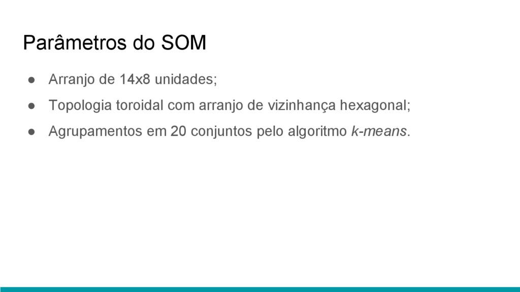 Parâmetros do SOM ● Arranjo de 14x8 unidades; ●...