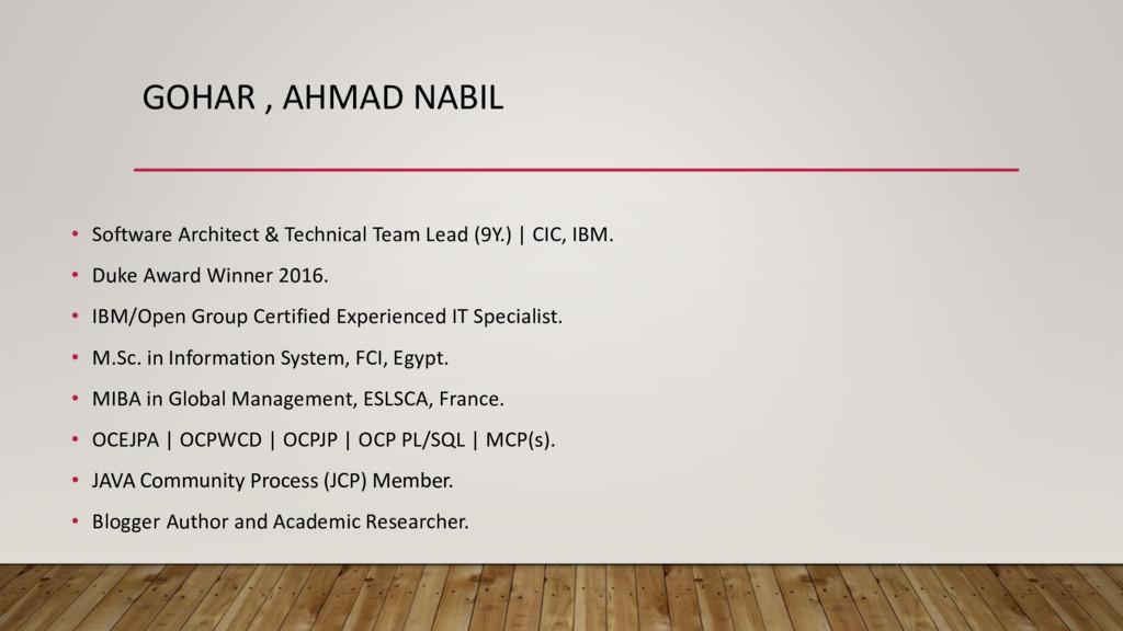 GOHAR , AHMAD NABIL • Software Architect & Tech...