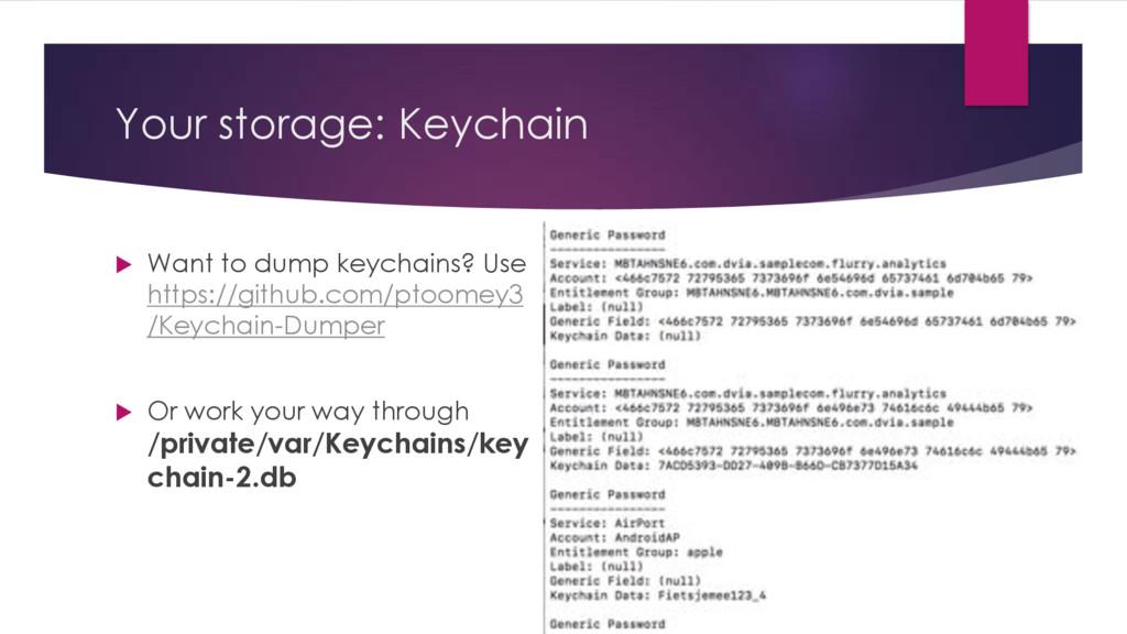 Your storage: Keychain u Want to dump keychains...