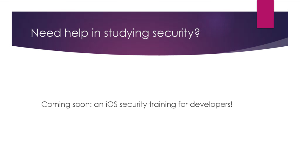 Need help in studying security? Coming soon: an...