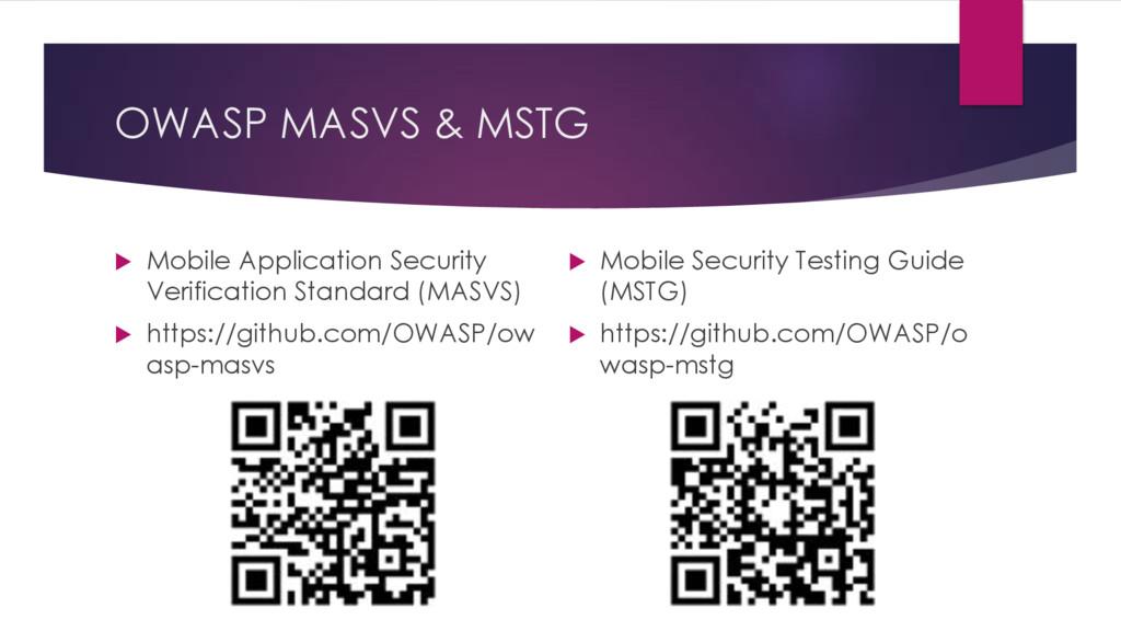 OWASP MASVS & MSTG u Mobile Application Securit...