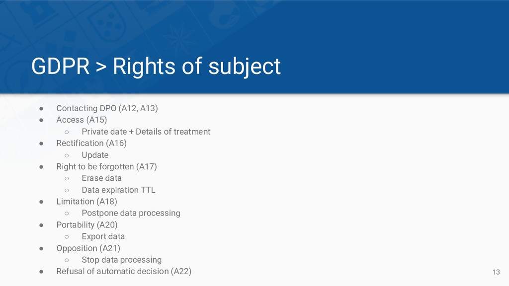 GDPR > Rights of subject ● Contacting DPO (A12,...