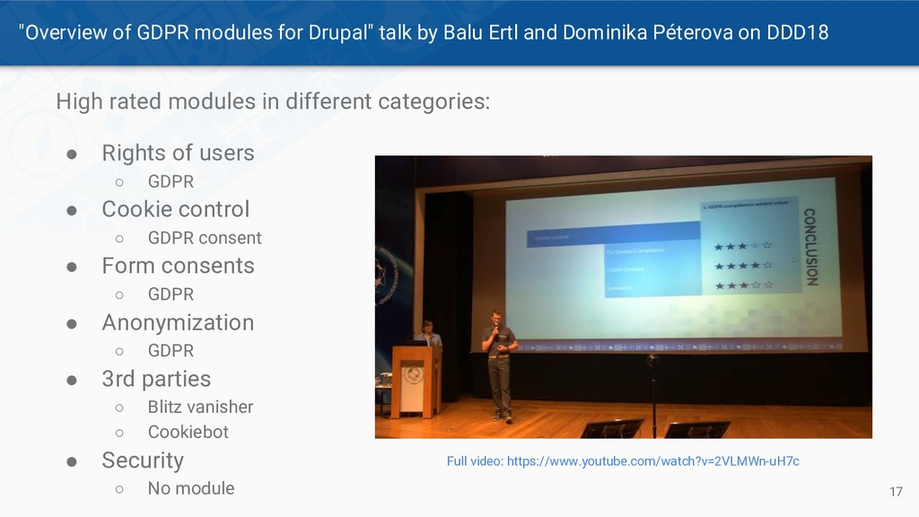 """""""Overview of GDPR modules for Drupal"""" talk by B..."""