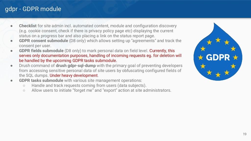 gdpr - GDPR module 19 ● Checklist for site admi...