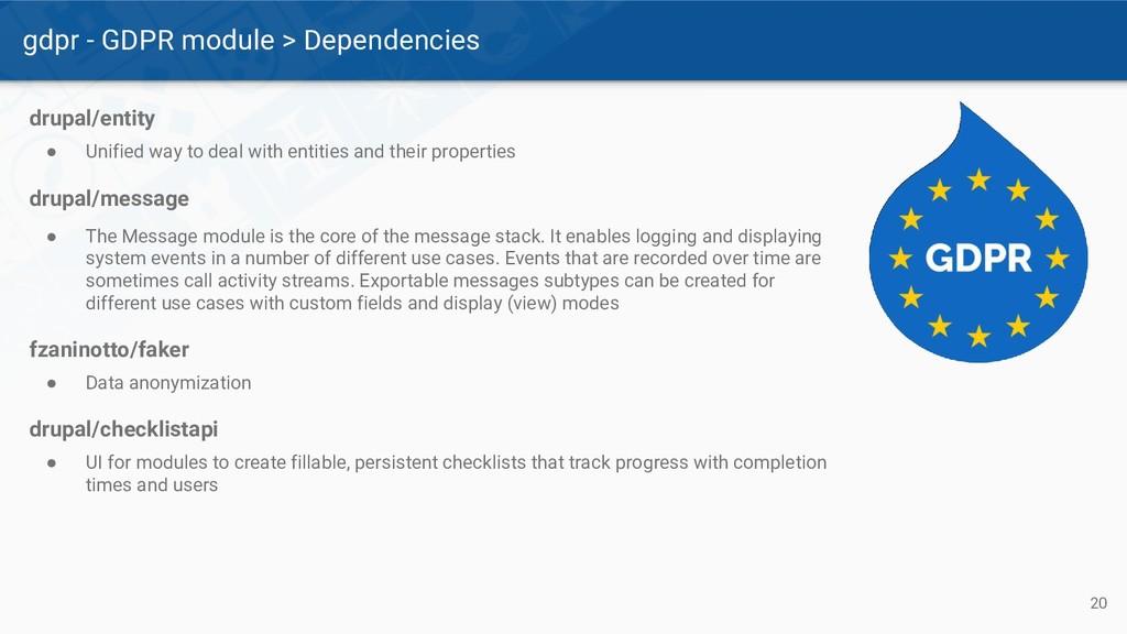 gdpr - GDPR module > Dependencies 20 drupal/ent...