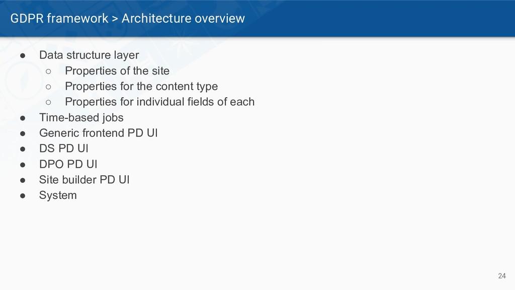 GDPR framework > Architecture overview 24 ● Dat...
