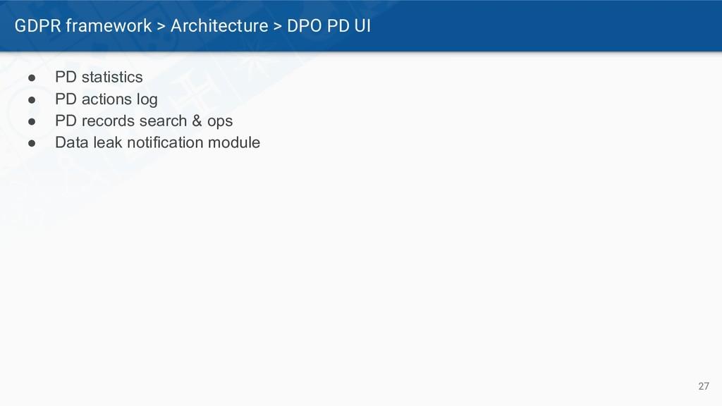 GDPR framework > Architecture > DPO PD UI 27 ● ...